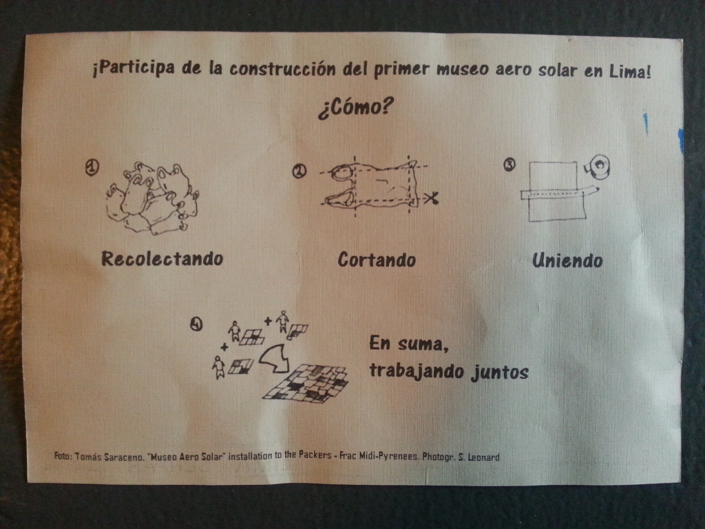 a phone-camera captured image of a pamphlet instructing how to create a museo aero solar. it instructs the collecting, cutting, taping, and combining of plastic bags.