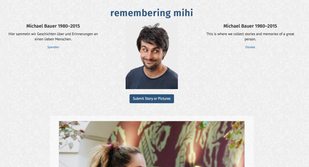 visually simple page has our departed friend Mihi front and center, between two short blocks of text describing that the page is a memorial in both English and German, and the beginning of one of the images posted to commemorate him